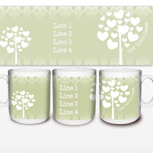 Personalised Love Grows Mug Green